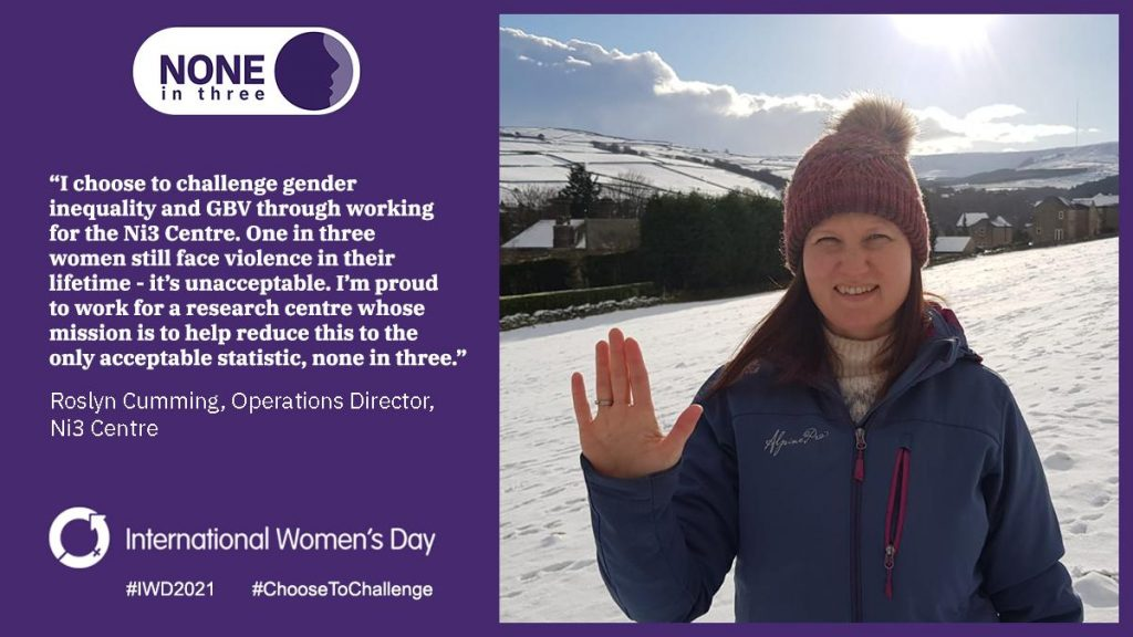 Image in support of International Women's Day 2021 by Ni3 Operations Director Roz Cumming